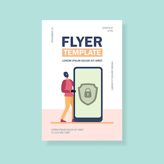 Datenschutz auf handy-flyer-vorlage