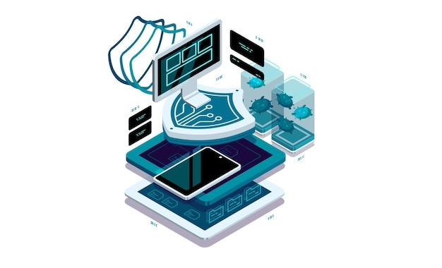 Datenschutz auf pc und smartphone.