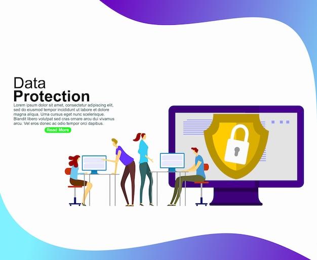 Datenschutz für die entwicklung von websites und mobilen websites. vorlage