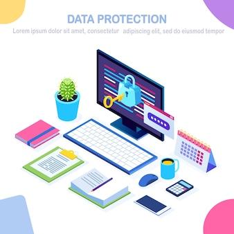 Datenschutz. internetsicherheit, datenschutzzugriff mit passwort. isometrischer computer-pc mit schlüssel, schloss.