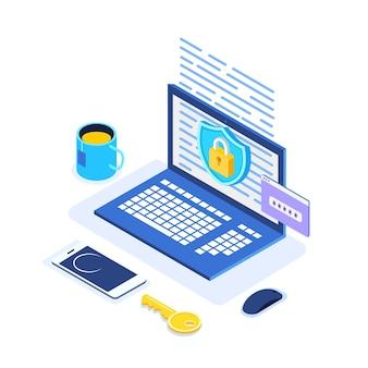 Datenschutz. internetsicherheit, datenschutzzugriff mit passwort. isometrischer computer, schild, schloss