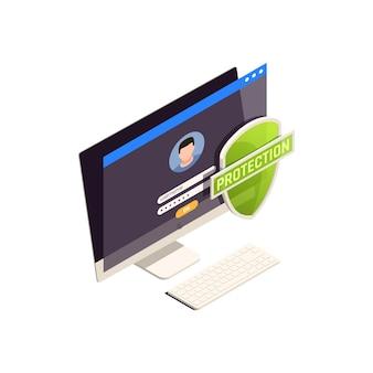Datenschutz isometrisch mit computer und schild 3d-darstellung