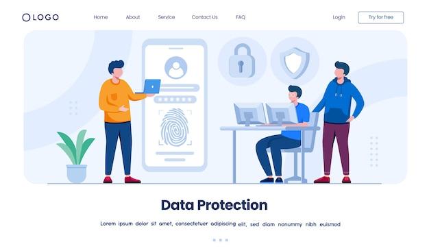 Datenschutz landing page website illustration vorlage