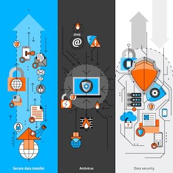 Datenschutz-linie-fahnen-set