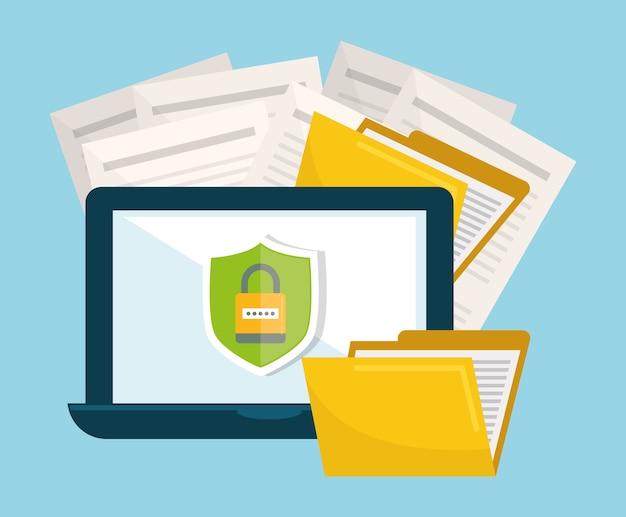 Datenschutz und sicherheitssystem grafische symbole