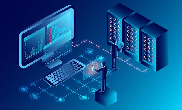 Datenschutz und software für entwicklungssicherheit. isometrisch. abbildung cartoon vektor