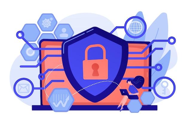 Datenschutzingenieur am laptop mit schutzschild zur verbesserung der privatsphäre des systems. privacy engineering, datenschutzorientiertes modell, konzept zur verteidigung personenbezogener daten