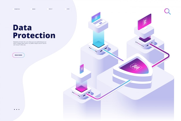 Datenschutzkonzept. geld für den digitalen sicherheitskanal schützt die zielseite der datenschutzsoftware für den sicheren zugang