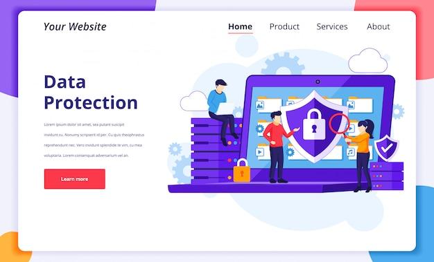 Datenschutzkonzept, menschen, die daten und dateien auf einem riesigen laptop schützen. landing page design-vorlage