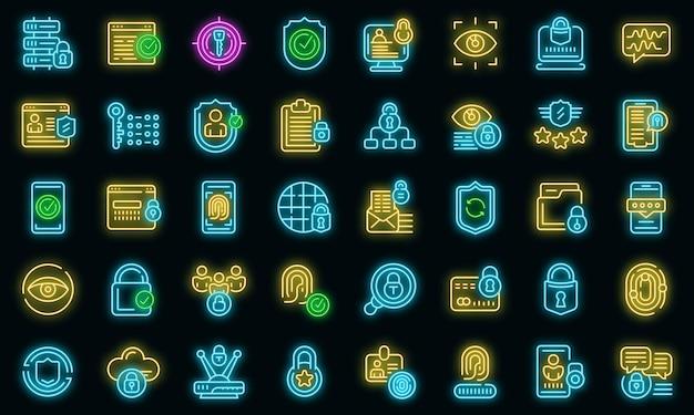 Datenschutzsymbole eingestellt. umrisse von datenschutzvektorsymbolen neonfarbe auf schwarz