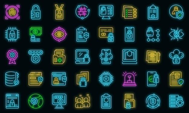 Datenschutzsymbole setzen umrissvektor. dsgvo-sicherheitsstandard. europa daten sicher