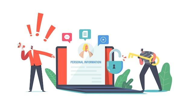 Datenschutzverletzung, doxing-konzept. hacker-männlicher charakter, der persönliche informationen im sozialen netzwerk sammelt. belästigung im internet, veröffentlichung personenbezogener sensibler daten. cartoon-menschen-vektor-illustration