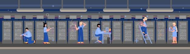 Datenserver-computerraum mit flacher vektorillustration des arbeitspersonals