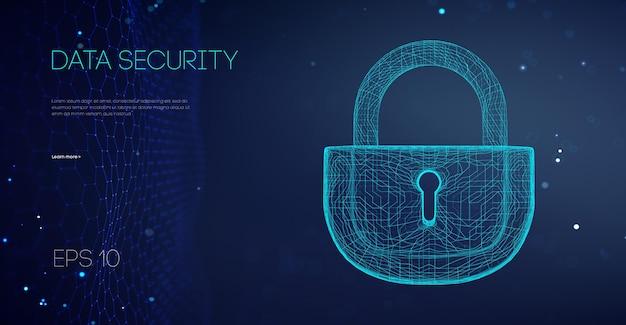Datensicherheit binärsperre. angriff auf sicherheits-cloud-daten. verschlüsselungscode-computer-firewall-konzept. alarm sperrt serverdaten. asiatisch es unterstützt vektor-illustration.