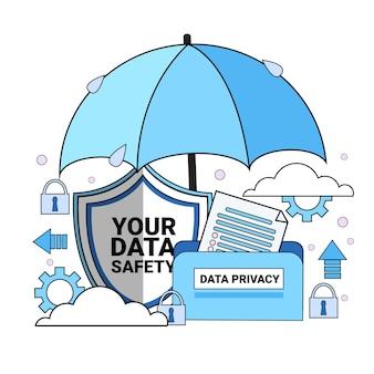 Datensicherheit cloud schild ordner papier regenschirm