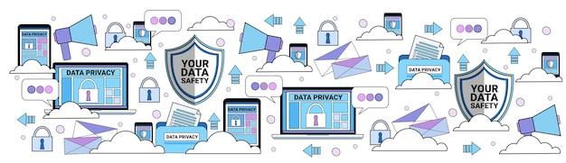 Datensicherheit cloud shield tablet vorhängeschloss