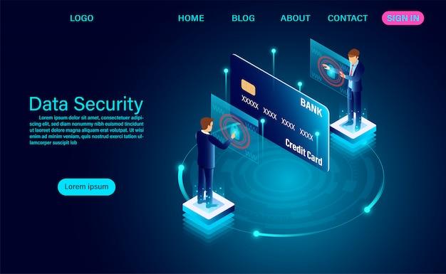 Datensicherheit modernes konzept. schutz datenfinanzierung vor diebstahl und hackerangriffen zielseite