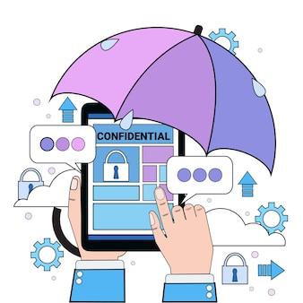 Datensicherheits-wolkenhandhalten-tablettenvorhängeschirmregenschirm