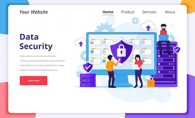 Datensicherheitskonzept: menschen arbeiten am bildschirm, um daten und dateien zu schützen. landing page design-vorlage
