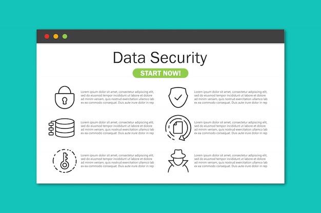 Datensicherheitswebsite im browserfenster in einem flachen design