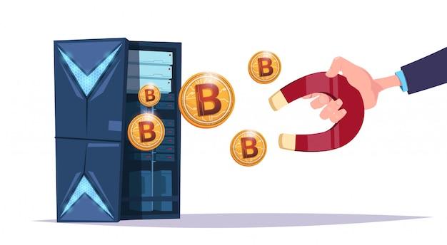 Datenspeicher-handgriffmagnet-bitcoin-center mit hosting-servern und mitarbeitern. computerbergbaukommunikationsunterstützungs-kryptowährungskonzept