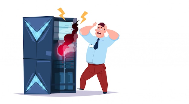 Datenspeicher-problemcenter mit hosting-servern und mitarbeitern. fehler computer-technologie-netzwerk und datenbank internet center kommunikationsunterstützung