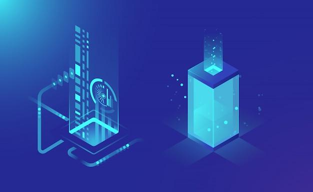 Datenspeicherung und -verarbeitung, abstrakte technologieelemente, cloud-speicher-datenfluss