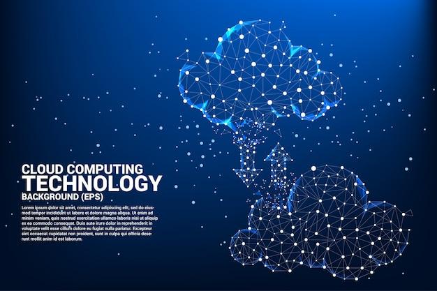 Datenübertragung mit cloud-computing-netzwerkkonzept-polygonpunkt-verbindungslinie
