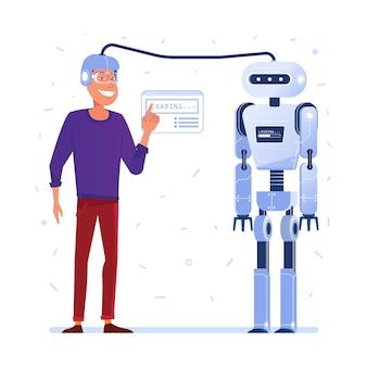 Datenübertragung vom menschlichen gehirn zum roboter.