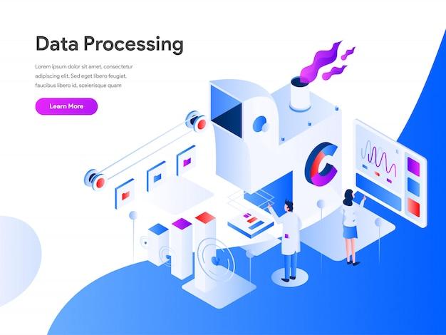 Datenverarbeitung isometrisch für website-seite