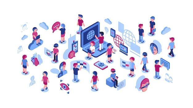 Datenverarbeitungsikonen der virtuellen realität mit leutesammlung