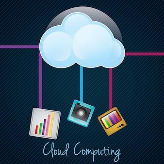 Datenverarbeitungskonzept der wolke auf dunklem hintergrund mit differentes apps vektorillustration