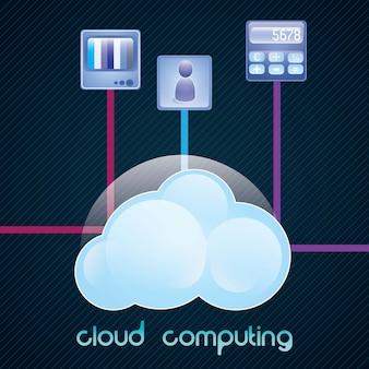 Datenverarbeitungskonzept der wolke mit ikonen (fernsehikonen-app) vektorabbildung