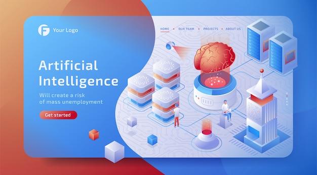 Datenverbindungskonzept für isometrische 3d-künstliche intelligenz (ki) mit digitalem gehirn. netzwerk zukunftstechnologie.