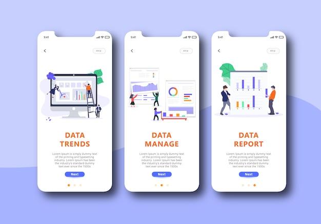 Datenverwaltung onboarding-bildschirm mobile benutzeroberfläche