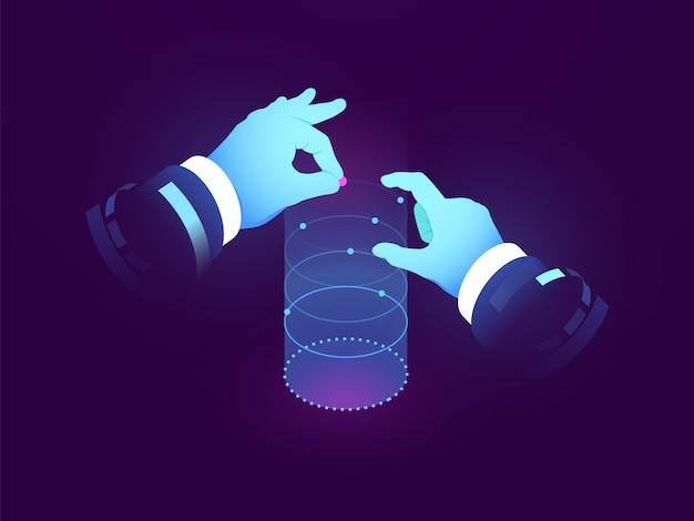 Datenwissenschaft und einblicke, kontrolle der hand, experimentvisualisierung, datenflussdiagramm, manipulation