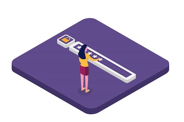 Datenzugriff, kennwort isometrisches konzept. anmeldeformular auf dem bildschirm. illustration.