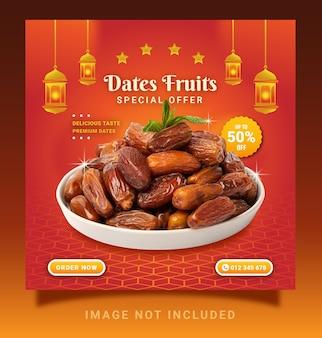 Dates fruits food menu mit laternen instagram post social media template