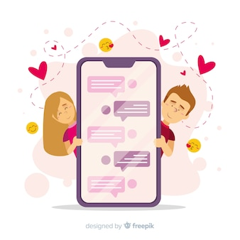 Datierungsapp-konzept mit handy
