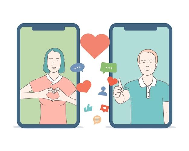 Dating-anwendung cartoon gliederungskonzept. junger glücklicher mann und frau, die sich verlieben.