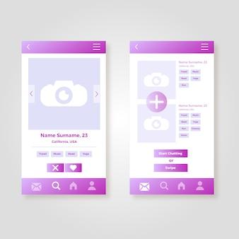 Dating app interface sammlung