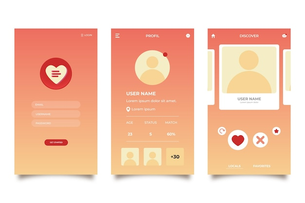 Dating app interface set