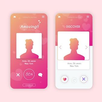 Dating app interface template sammlung