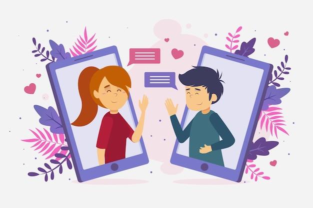 Dating app konzept mit chat