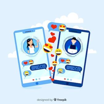Dating-app-konzept mit emojis