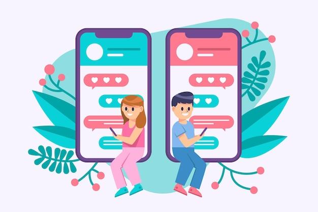 Dating app konzept mit mann und frau