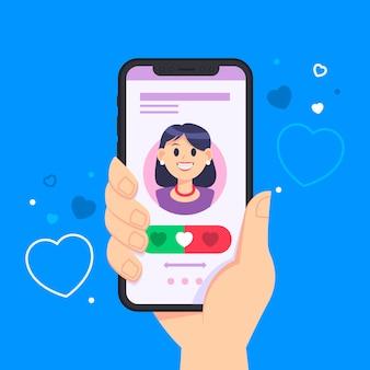 Dating app swipe-schnittstelle mit hand halten telefon