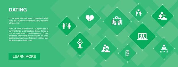 Dating-banner 10 icons concept.paar in liebe, verlieben, dating-app, beziehungen einfache symbole