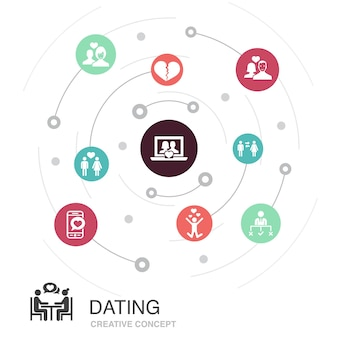Dating farbiges kreiskonzept mit einfachen symbolen. enthält elemente wie verliebtes paar, sich verlieben, dating-app, beziehungen