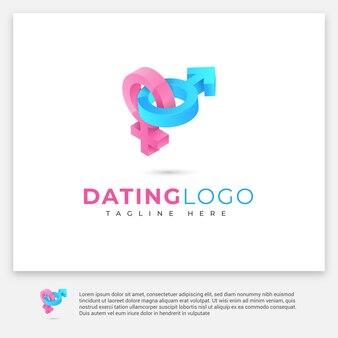 Dating-logo mit 3d-stil